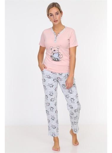 Obje Love Yazılı Kadın Pijama Takımı Pembe